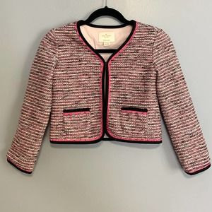 Kate Spade Pink Tweed Blazer Jacket Girls 140/ 10Y